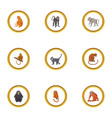wild monkey icons set cartoon style vector image vector image