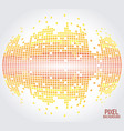 yellow sphere pixel background design vector image vector image