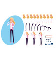 young businessman character creation set vector image