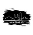 ahmedabad india city skyline silhouette hand vector image vector image