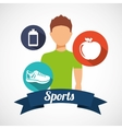 athlete avatar with sport icon vector image vector image