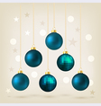 Blue Christmas bauble card design vector image vector image