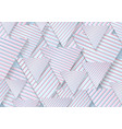 blue pink paper triangles with striped texture vector image vector image