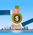 business hand giving money to businessman salary vector image