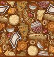 cartoon hand-drawn russian food seamless pattern vector image