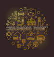 charging point round golden outline vector image vector image