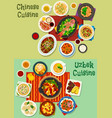 chinese and uzbek cuisine asian dinner icon set vector image