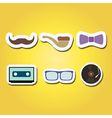 color icons with different hipster objects vector image vector image