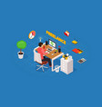 colored 3d isometric freelance designer workplace vector image vector image