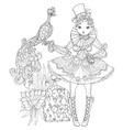 cute fairy girl in flowers doodle vector image vector image