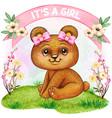 cute watercolor bear girl baby shower