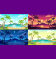 daytime beach landscape sunny day seascape night vector image vector image