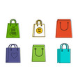 eco shop bag icon set color outline style vector image