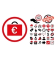 Euro Bookkeeping Case Flat Icon with Bonus vector image vector image