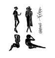 fashion models sketch hand drawn stylized vector image