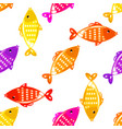 fish seamless pattern in different colors vector image vector image