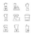 food processor blender icon set outline style vector image vector image