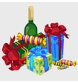 gift boxes bottle wine and candy festive set vector image