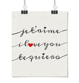 i love you poster in french english and spanish vector image