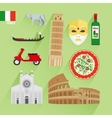 Italy flat icons vector image