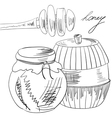 jar full of honey and stick vector image