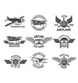 labels design template with pictures of airplanes vector image vector image