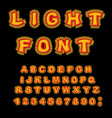 light font retro alphabet with lamps glowing vector image vector image