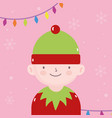 merry christmas cute helper with lights decoration vector image