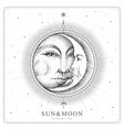 modern magic witchcraft card with sun and moon vector image