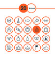 new icons set collection of arch birthday hat vector image