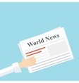 news newspaper in his hand vector image vector image