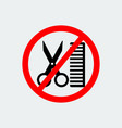 no hairdresser sign vector image vector image