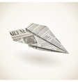 Paper airplane folded newspaper vector image vector image