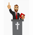 priest gave a sermon in a church in worship vector image