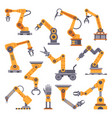 robotic arms set manufacturing automation vector image