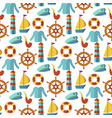 seamless patterns with nautical elements wave vector image vector image