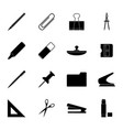 set black stationery icons vector image