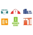 set colorful real estate icons vector image
