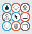 set of 9 world wide web icons includes blog page vector image vector image