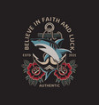 shark and anchor with traditional tattoo style vector image