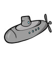 submarine on white background cute cartoon vector image