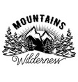 template with stylized inscription mountains vector image