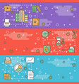 thin line art web banner template set vector image