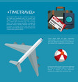 time travel flyer plane bag passport ticket vector image