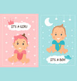 two baby shower or baby birth card designs vector image