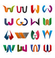 w letter icons for brand company vector image