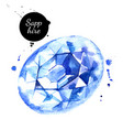watercolor hand drawn sapphire gemstone crystal vector image vector image