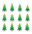 winter colorful cartoon christmas tree set vector image vector image