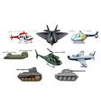 Different war transportations vector image