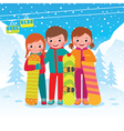 Group of children snowboarders vector image